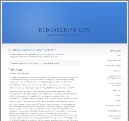 Redaxscript Leichtgewicht Content-Management-System
