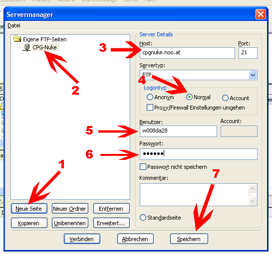 FTP Zugang anlegen