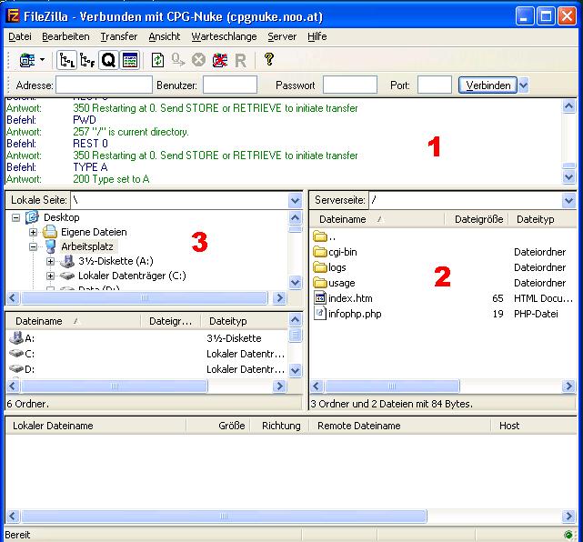 Einrichten der FTP Verbindung