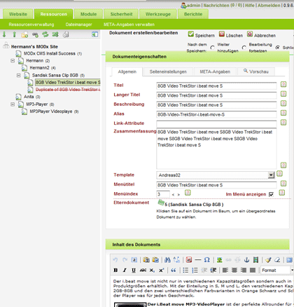 MODx Content Management System Admin