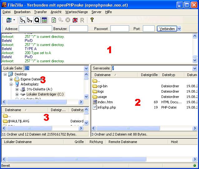 FTP Programm mit dem Server verbinden