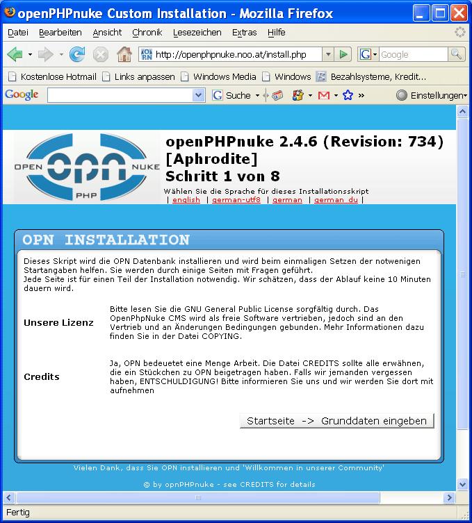 OpenPHPNuke Installationsprogramm
