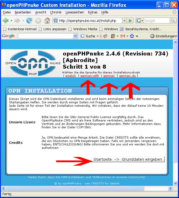 OpenPHPNuke Sprache
