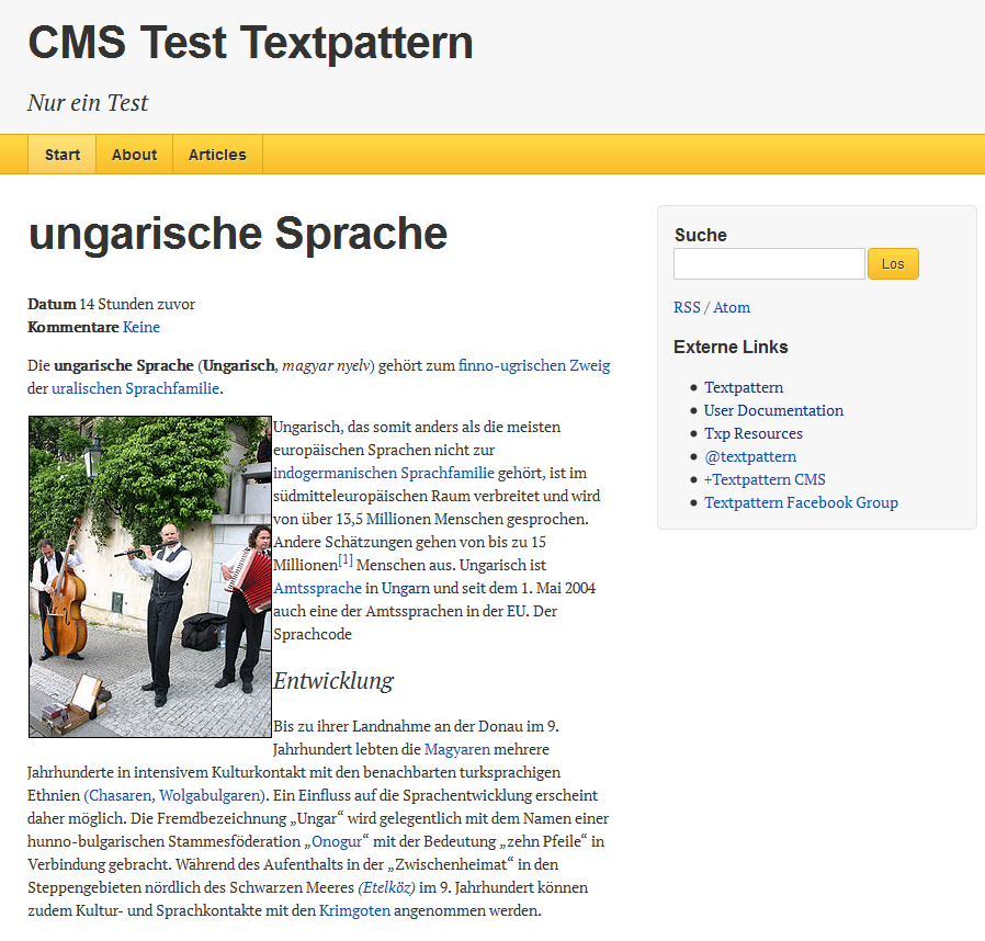 Textpattern CMS Front