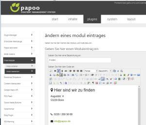 Papoo Content Management System Freie Module